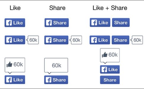 Nuovi pulsanti Like e Share di Facebook