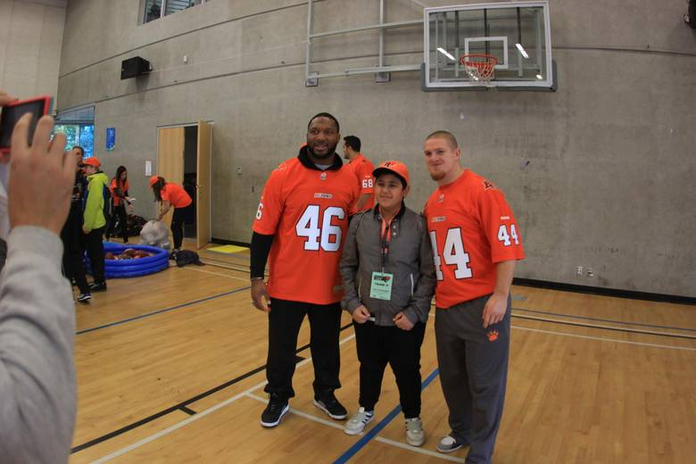 Mike is one of about a hundred middle-school students – he was chosen by a school counsellor – attending the B.C. Lions Skills for Life Summit. BC LIONS