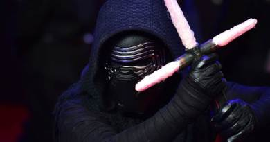 """Kylo Ren at the European premiere of """"Star Wars: The Force Awakens"""" in London on December 16. LEON NEAL / AFP - Getty Images"""