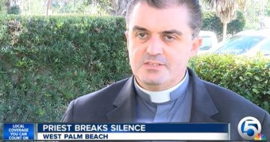"""Palm Beach Diocese claims Fr. John Gallagher is """"blatantly lying"""" and """"in need of professional assistance."""" Photo by: WPTV"""