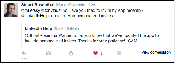Tweet Stuart Rosenthal Personalizing LinkedIn Invitations