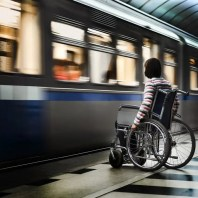 Disabled Passenger Catching Subway Train