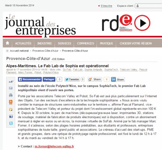 Journal des Entreprises 18-11-2014