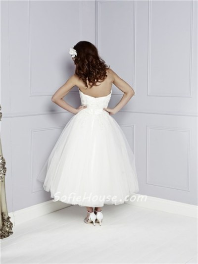 Princess A Line Strapless Sweetheart Tea Length Lace Tulle ...