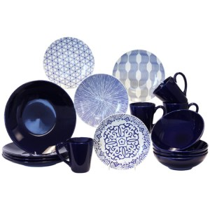 Blue+%26+White+16+Piece+Dinnerware+Set