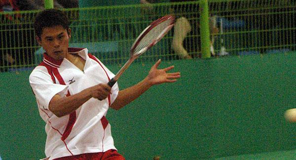 2008第6回アジア選手権男子シングルス準決勝 vs.キムドンフンでの楊勝發。