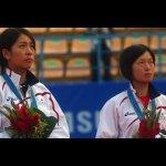 表彰台の杉本瞳・上原絵里 2010アジア競技大会