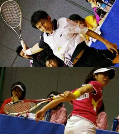 日本リーグは3対戦の点取り団体戦、2番はシングルスである。現在のシングルスランキング一位は男子は長江光一、女子は大庭彩加、いずれもNTT西日本広島 の所属でつまり日本リーグで見られる。この2人のシングルスは日本一にとどまらず世界トップレベル、それがたっぷり堪能出来る。