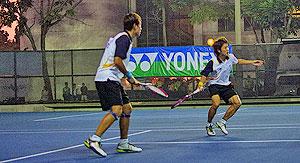 2012第7回アジア選手権男子ダブルス決勝でのイジュンスブ・キムボムジュン。台湾嘉義市