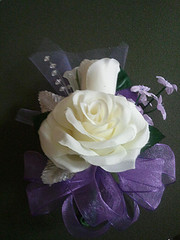 Ivory/Lilac  Full Rose corsage