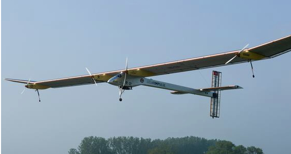 The solar impulse plane flying
