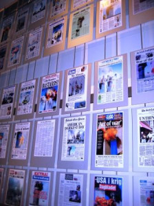 Newspaper Headlines following Sept. 11, 2001: Newseum in Wasthington, D.C.