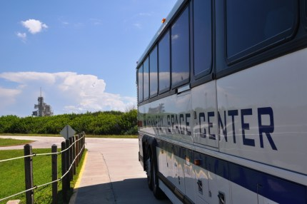 Launch Pad 39A in Background of Kennedy Space Center Tour Bus