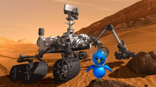 This artist concept features NASA's Mars Science Laboratory Curiosity rover along with an illustrated astronaut bird.
