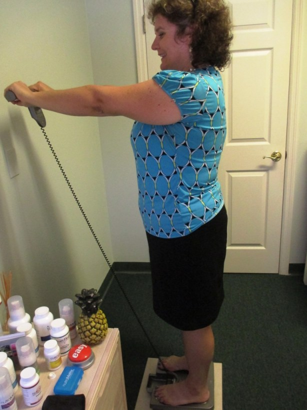 Getting My Measurements Done in the Office of Sarasota Nutritionist Nora Clemens of Nutrition and Wellness Solutions