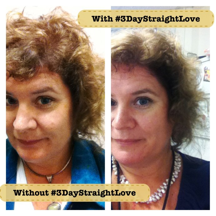 Without John Frieda Frizz Ease 3-Day Straight Flat Iron Spray and With. Definitley More Tame with It. #3DayStraightLove