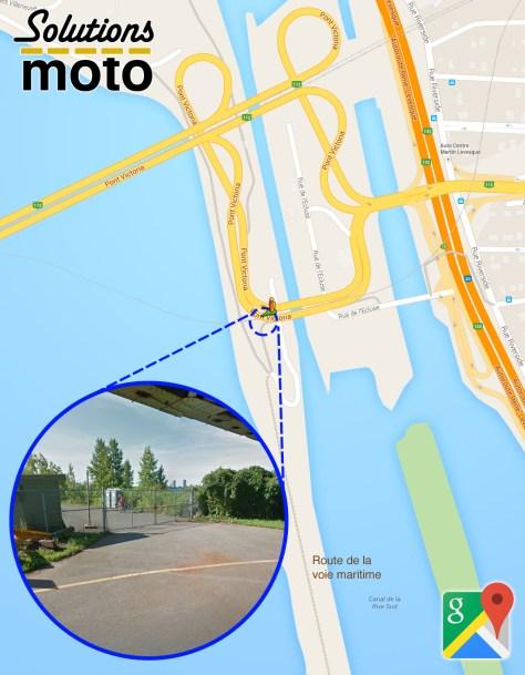 Accès à l'estacade par la route de la voie maritime et le pont Victoria