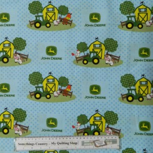Quilting Patchwork Sewing Cotton Fabric JOHN DEERE BARN YARD BLUE 50x55cm FQ NEW