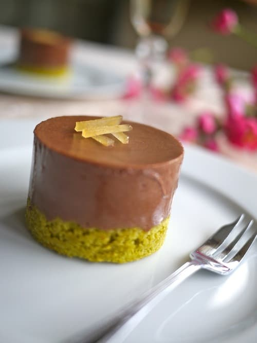 chocolate, ginger, and green tea mousse cake