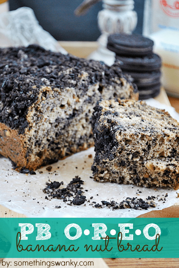 PB Oreo Banana Bread at www.somethingswanky.com #recipes #dessert