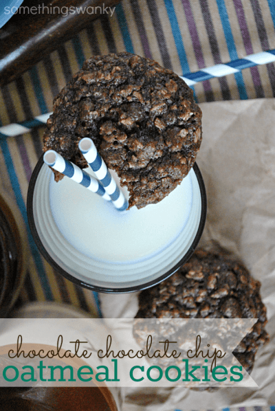 Chocolate Chocolate Chip Oatmeal Cookies | www.somethingswanky.com