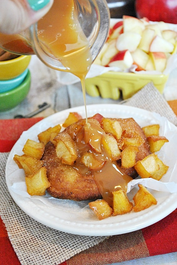 Inside Out Caramel Apple Fritters | www.somethingswanky.com