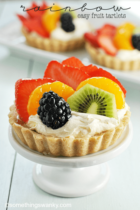 Easy Rainbow Fruit Tartlets | www.somethingswanky.com