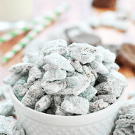 Thin Mint Muddy Buddies | www.somethingswanky.com #3weeksofGScookies