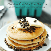 Oatmeal Chocolate Chip Buttermilk Pancakes | www.somethingswanky.com