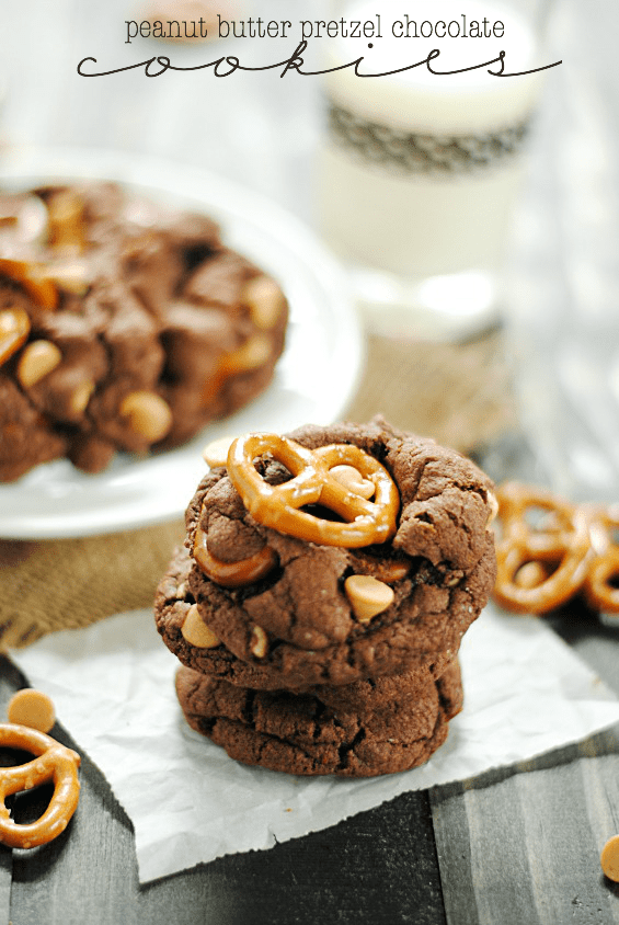 Peanut Butter Pretzel Chocolate Cookies | www.somethingswanky.com