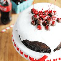 Chocolate Cherry Cola Cake | Recipe + super cute Cherry Coke Birthday party ideas! #getyourbettyon