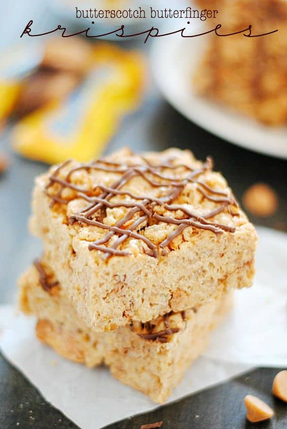 Butterscotch Butterfinger Rice Krispie Treats