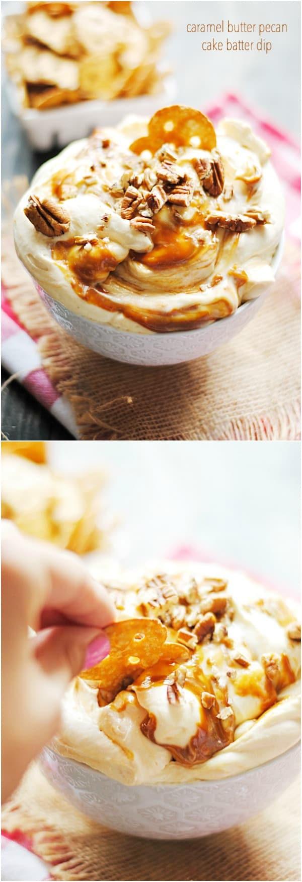Caramel Butter Pecan Cake Batter Dip is so easy and a total crowd pleaser! #safeway #sweepstakes #ad