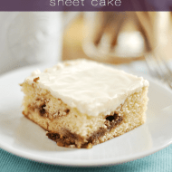 Cinnamon Roll Sheet Cake is like the ultimate in all things cake. It's like a warm, perfect piece of comfort smothered in cream cheese frosting.