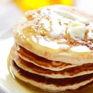 It's a Honey Bun! Only in a warm, fluffy, delicious pancake smothered in Buttermilk syrup...