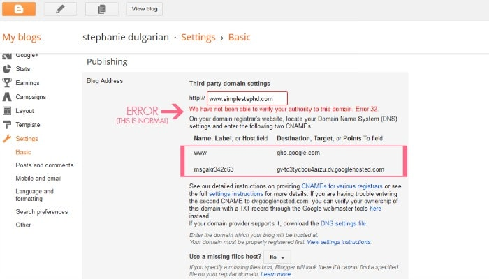how to change blogspot to dot com