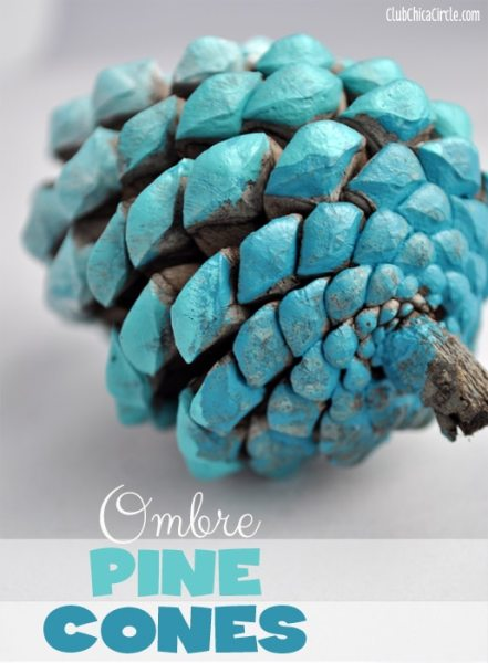 Blue-Ombre-Painted-Pine-Cone-Fall-Craft-Idea 1