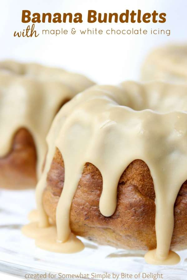 Banana Bundtlets with White Chocolate Icing