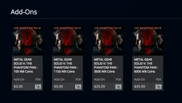 Las microtransacciones de Metal Gear Solid V: The Phantom Pain