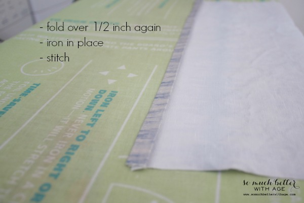 How to hem / Envelope pillow cover tutorial via somuchbetterwithage.com