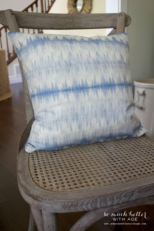 Ikat fabric / Envelope pillow cover tutorial via somuchbetterwithage.com