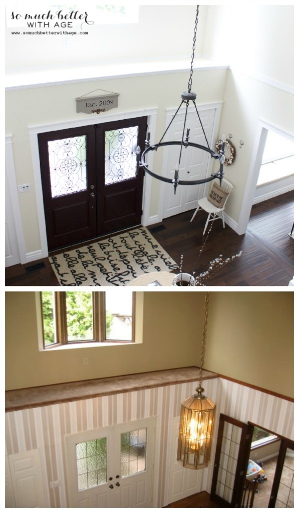 Before and after / Neutral foyer via somuchbetterwithage.com