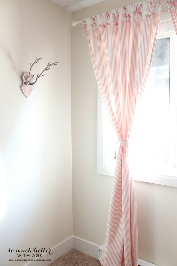 Scandinavian pink ticking curtains | somuchbetterwithage.com