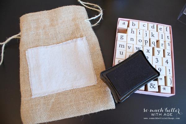 Stamped DIY burlap gift bag | somuchbetterwithage.com