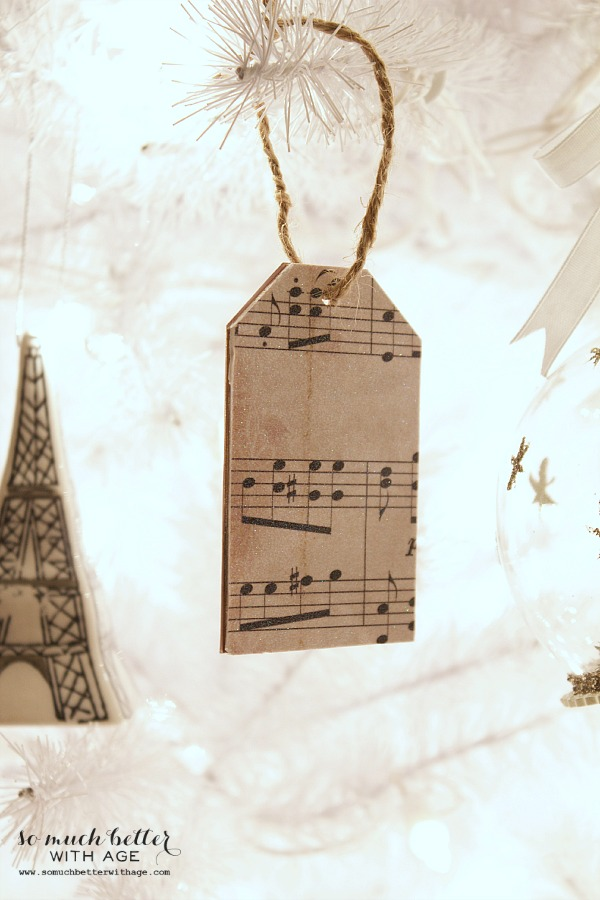 Sheet Music Wooden Tag Ornaments | somuchbetterwithage.com
