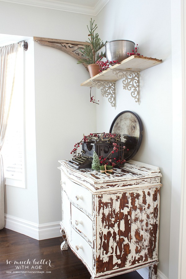 Christmas tour cabinet - Holiday Housewalk by somuchbetterwithage.com