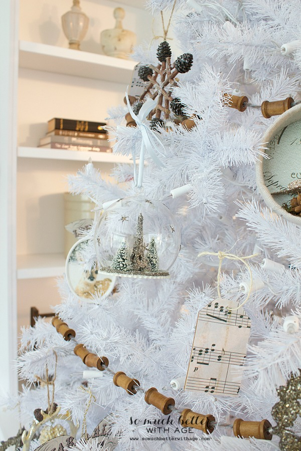 White Christmas with French ornaments by somuchbetterwithage.com