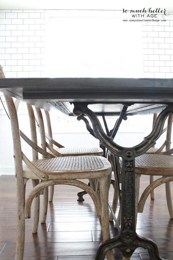 Restoration Hardware chairs & table / Industrial Vintage French kitchen | somuchbetterwithage.com