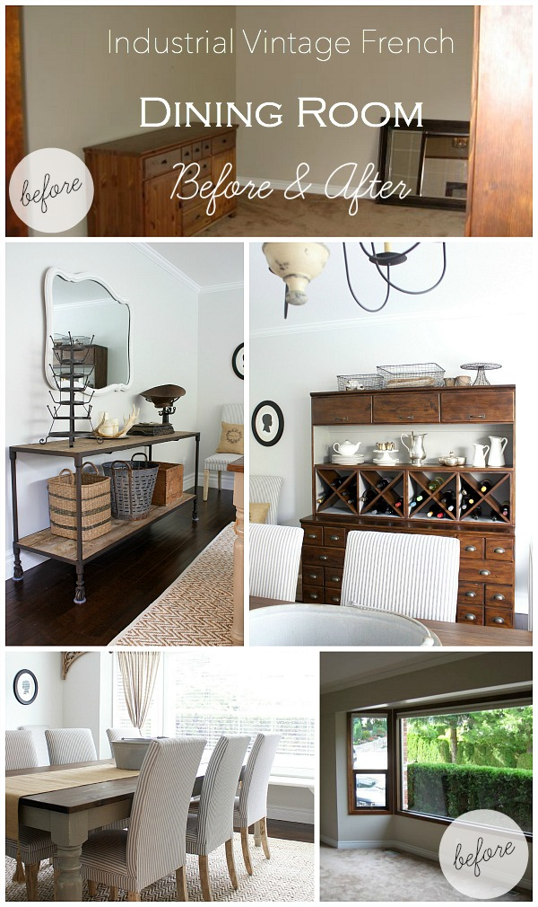 Industrial Vintage French Dining Room Before & After by somuchbetterwithage.com