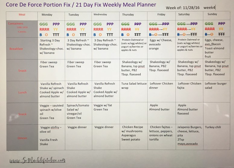 core de force-portion fix-meal plan